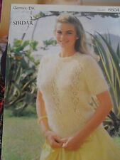 Knitting Pattern Lady's DK Short Sleeve Sweater Lacy Panels To Knit Sirdar 6504
