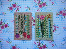 Two/pair vintage/retro 70's game/playing cards - embroidered/crewel flowers/veg