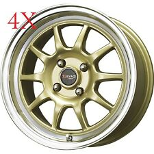 Drag Wheels DR-16 15x8.25 4x114 Gold Rims +10 For Nissan Cube Versa 07 08 09 10