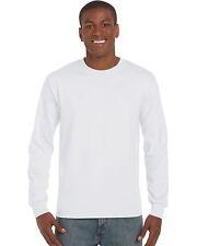 2 Gildan Manga Larga Camisetas Del Mundo N ° 1 millones de EUR Blanco Liso M