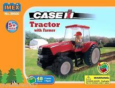 Imex Case IH toy farm Tractor with Farmer 48 Piece Block Set