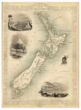 New Zealand Tasman Sea illustrated map John Tallis ca.1851
