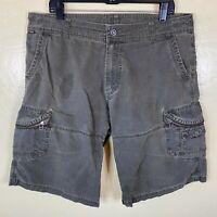 """Kuhl Shorts Mens 38 Patina Dye Green 12"""" Inseam Outdoor Pockets Hiking"""