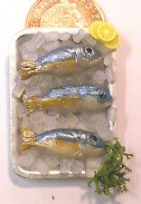 1:12 scala 3 pesci in una bacinella + GHIACCIO DOLL HOUSE miniatura cibo Cucina Accessorio mi