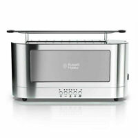 Russell Hobbs 2-Slice Glass Accent Long Toaster, Black & Stainless Steel Silver