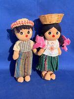 """Vintage Mexico Sombrero Basket Girl Boy Doll Set of 2 UNIQUE Ethnic 9"""" ❤️m13"""