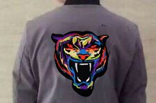 """Large 8.5"""" x 7"""" Embroidered New Deluxe Biker Tiger Head Patch Iron-On Huge Patch"""