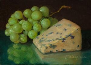 small original oil painting realism still life blue cheese grapes 7x5 Y Wang
