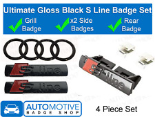 Audi S Line Badge Gloss Black - Rear Rings - Grill - Side - Ultimate set