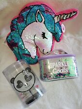 Justice Girls Flip Sequin Unicorn Pillow Gift Lot Bath Beauty Makeup Bag Jewelry