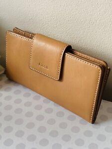 FOSSIL EMMA'Leather Clutch Purse Women's Large Slim Saddle Purses Booklet Wallet