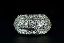 Estate Antique Art Deco 14k White Gold Diamond Cluster Cocktail Engagement Ring