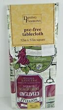"""Elrene Vinyl Tablecloth Flannel Backed Wine  52"""" x 52"""" Square"""