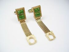 VINTAGE SWANK CUFF LINKS Over the cuff style genuine jade