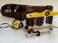 Scaffolding Brown Leather 6PCS Belt 4Pcs Heavy Duty Tools and Hammer Holder