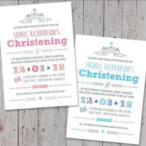 25 Personalised Christening invitations Baptism Naming Day Birthday