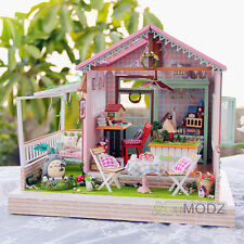 Pink Romantic Wooden Dollhouse Handmade Miniature Furniture Wood Doll House Diy