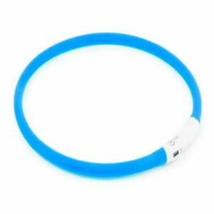Ancol USB High Visibility Dog Collar Flashing Safety Band Loop Night Walk Blue