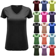 Womens Ladies Stretchy Baggy Casual Cap Sleeve V Neck Plain Basic Tee T Shirt