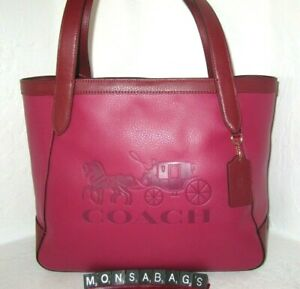 Coach C5676 Colorblock Bright Violet Pebbled Leather Horse & Carriage Tote NWT