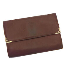 Cartier Wallet Purse Trifold Mastline Red Gold Woman Authentic Used C1581