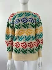 Vintage 1980s Knitted in Great Britain Mulitcolour Rainbow Flower Jumper Knit