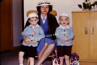 Vintage Photo Slide of 1950's Mother in Hat with 2 Boys Sons in Matching Outfits