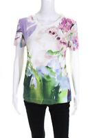 Just Cavalli Womens Cotton Short Sleeve Printed Crew Neck T-Shirt Pink Green 46