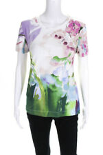 Just Cavalli Womens Cotton Short Sleeve Printed Crew Neck T-Shirt Pink Green 46
