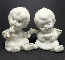Set of Two Small Porcelain Cherub Angels with Wings