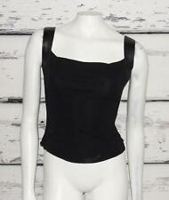 ARMANI EXCHANGE~BLACK *LEATHER STRAPS* CASUAL CROP TANK TOP TEE BLOUSE~XS (0-2)