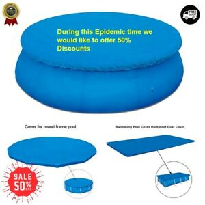 Blue  Round Swimming Paddling Pool Cover Inflatable Easy Fast Set Rope