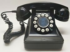 Vintage Style 1940's Microtel Telephone Model 999 Rotary Push Button Phone Black