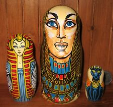 Genuine Russian 3 GOLD nesting dolls Ancient Egypt Gods Goddesses MATT Babushka