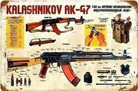 Kalashnikov AK-47 Arrugginiti Insegna Acciaio 460mm x 300mm (Pst)
