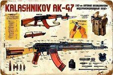Kalashnikov AK-47 rusted funny metal sign  460mm x 300mm   (pst 1812)