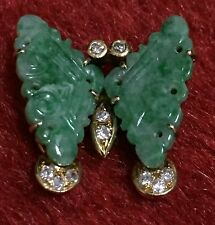 Vintage GEMMY brand 14K GOLD Pendant - Jade Butterfly with diamond accents