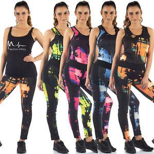 MALUCAS SPORTS Damen Leggings + TankTop Sportset Trainingsanzug Gym Yoga Fitness