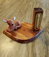 Vintage Arizona Grand Canyon Souvenir deer fawn Thermometer Works cedar wood USA