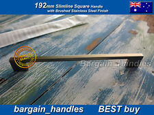 Kitchen Door Slimline Square Handles w Brushed Stainless Steel Finish  10x192mm
