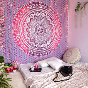 Pink Ombre Mandala Tapestry Wall Art Hanging Hippie Tapestries Dorm Home Decor