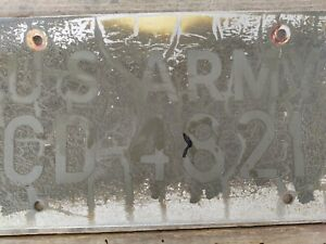 Vintage US Army License Plate #CD 4821 Military Police Car US Forces