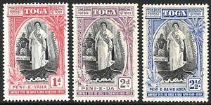 TONGA 1938 Queen Salote's Anniversary set 3, mint hinged. SG 71/73.