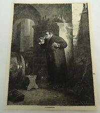 1879 magazine engraving ~ A WINE CONNOISSEUR