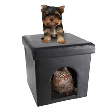 New listing Petmaker Pet House Ottoman- Collapsible Multipurpose Cat or Small Dog Bed Cube &