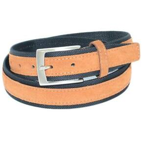 Cintura uomo bicolore cuoio e nera in pelle scamosciata e tela regolabile fibbia