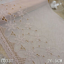 """1Yard Pretty Delicate Cotton Floral Embroidered Tulle  Lace Trim 10 3/4"""" Wide"""