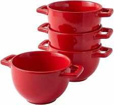Bruntmor Ceramic Large Soup Crocks With Handle Set of 4 Serving Bowls 24 Oz Red