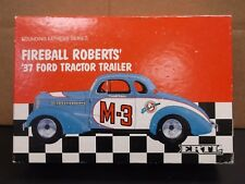 ERTL Founding Fathers Series Fireball Roberts' '37 Ford Tractor Trailer In Blue