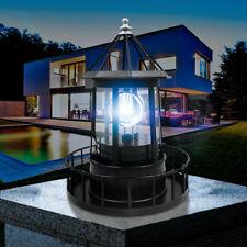Lighthouse Solar LED Light Garden Outdoor Rotating Beam Sensor Beacon Lamp E